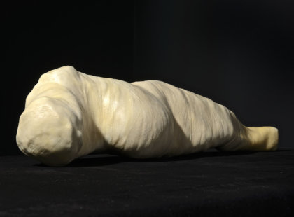 2014 – 2015, height 18 cm, length 70 cm, mixed media (wood, fabric, leather, wax)