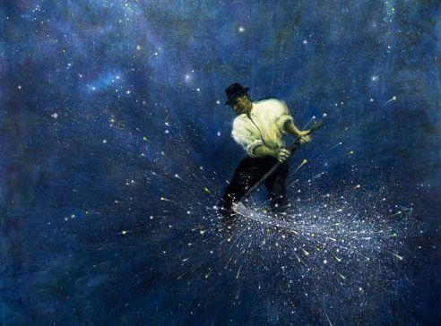Velký sekáč, cyklus Big Bang, 2020, akryl na plátně, 300 x 170 cm